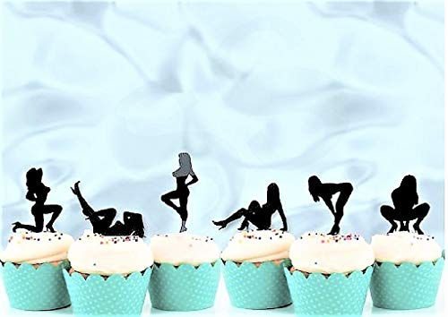 Various Designs of Pole Dancers/High Heels/Corset/Glasses/Bride & Groom Cupcake Toppers for Birthday/Bridal Shower/Wedding/New Years Events/Party/Bachelor Party sets of 12... (Glitter Black Sexy Lady) (Bachelor Cake Topper)