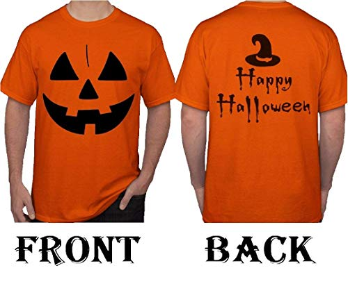 Men's Halloween Jack O' Lantern Pumpkin Face T-Shirt Costume. Double Sided Print. (Small, Orange)
