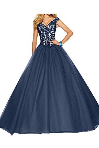 Hochwertig Linie Abendkleider Rock Blau Promkleider Ballkleider La Marie Navy Spitze Braut A Quincenera Prinzess EAqvZBw