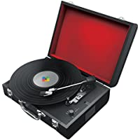 Polaroid Portable Bluetooth Turntable with Speakers for Vinyl and Wireless Devices (Black)