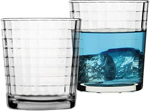 Circleware 40111 Matrix Set of 4 Heavy Base Whiskey Glasses 12.5 oz, Beverage Drinking Glassware Cups for Water, Liquor, Cocktails, Beer, Ice Tea, Juice and Bar Decor, 4pc DOF, ()