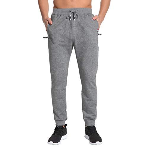 JustSun Mens Joggers Slim Fit Tracksuit Bottoms Jogging Trousers Elastic Waist Zip Pockets