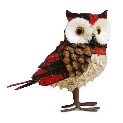 Set of 2 Standing Owls In Red Plaid Decor Woodsy Christmas