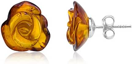 Amber Sterling Silver Rose Stud Earrings