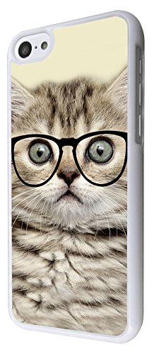 040 - Cool Geek Kitten Cat Reading Sunglasses Funny Design iphone 5C Coque Fashion Trend Case Coque Protection Cover plastique et métal - Blanc
