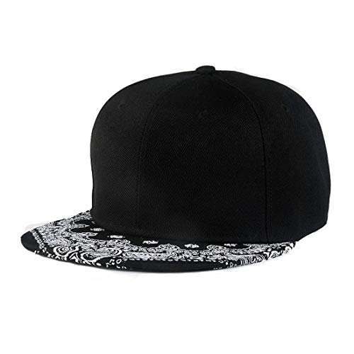 King Star Men Solid Flat Bill Hip Hop Snapback Baseball Cap Floral Brim-Black ()