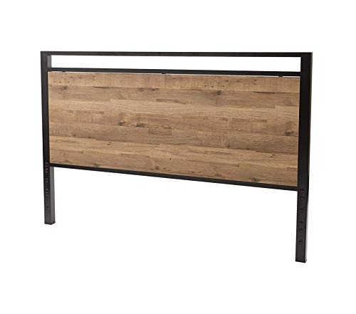 (Оsp Dеsigns Quinton Headboard and Footboard in Salvage Oak Finish with Matte Black Frame for Queen Size Bed)