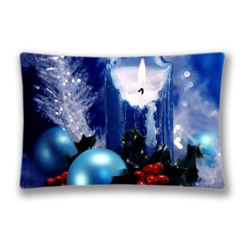 Christmas Candle Ornaments Pillow Covers Protector Two Sides Standard Zippered Pillowcase Pillow Sham 20x30inche for kids New Year -