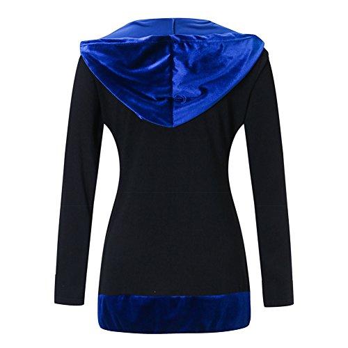 Outwear Chaqueta Terciopelo para Sudaderas Largas Casual Sudadera Azul Mangas Mujeres Cremallera Abrigo pvAwWqpT