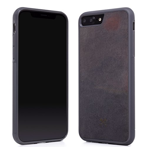 Woodcessories EcoBump Stone - Premium Design Case, Hand-Crafted Cover, Protection for iPhone Made of Real Slate (iPhone 7 Plus/8 Plus, Volcano Black)