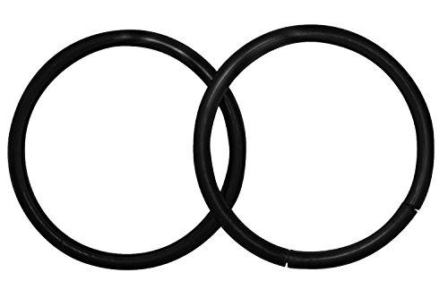 Forbidden Body Jewelry Pair of 2 Rings: 16g 7/16 Inch Surgical Steel Black IP Plated Seamless Segment Hoop Rings (16g 11mm Lip Rings)