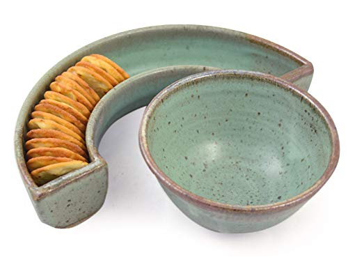 Simply Modern Pottery Collection: Crescent Cracker Tray and Dip Bowl in Sage Green, Made in USA