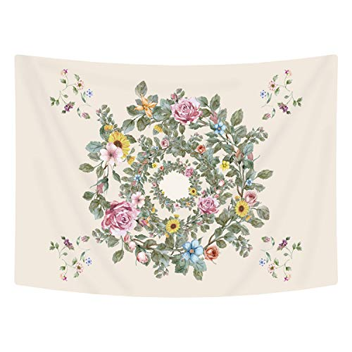 Green Floral Tapestry - Ice jazz Floral Tapestry Bright Green Flower Wall Tapestry Wildflower Wreath Wall Hanging for Living Room Decor (Flower, 51ʺ × 59ʺ)