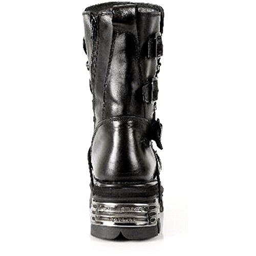 New Rock Black Leather Gothic Designer Look Unisex Boots - M.373.S4 Black FEbSGDFpJF