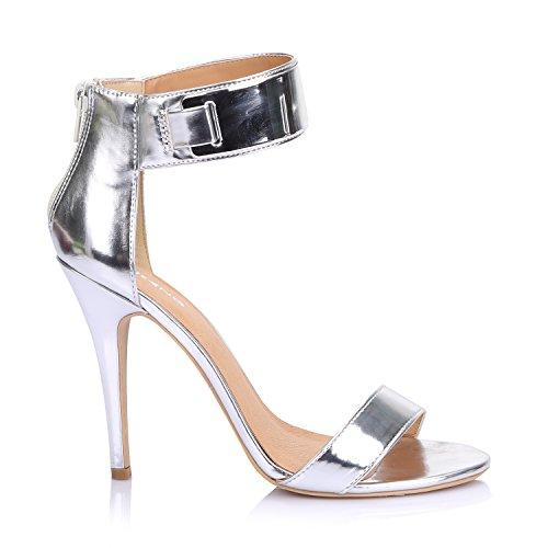 LiKing 23-002 Damen Sandalen Sandaletten High Heels Silber