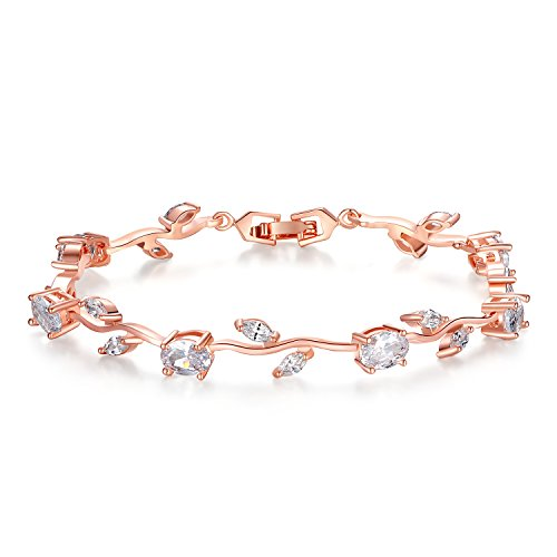 BISAER Lovely Rose Gold Plated AAA Cubic Zirconia Gemstone Flower Vine 7 Inches Bracelet for Mothers Girls Girlfriends