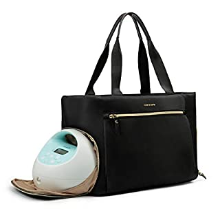 mommore Breast Pump Bag Diaper Tote Bag with 15 Inch Laptop Sleeve Fit Most Breast Pumps Medela, Spectra S1,S2
