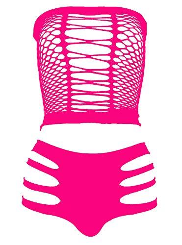 (LEMON GIRL Women's Set US4-18 Lingerie Fishnet Babydoll Bodysuit Mini Dress Rose)