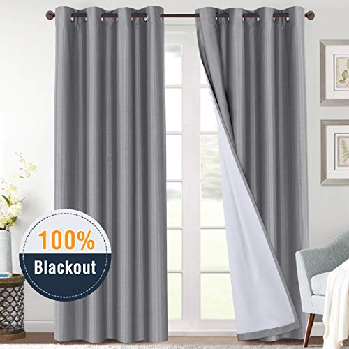 100% Blackout Curtains for Sliding Glass Door Thermal Insulated Grey Curtains Energy Saving 96 Inches Faux Silk Window Treatment Heavy-Duty Full Light Shading Drapes for Bedroom, 2 Panels (Curtains And Window Treatments For Sliding Glass Doors)