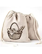 Linen Bread Bags - 3 Pack 11 x 15 Special Art Design Breathable Unbleached Linen Reusable Storage for Homemade Artisan Bread