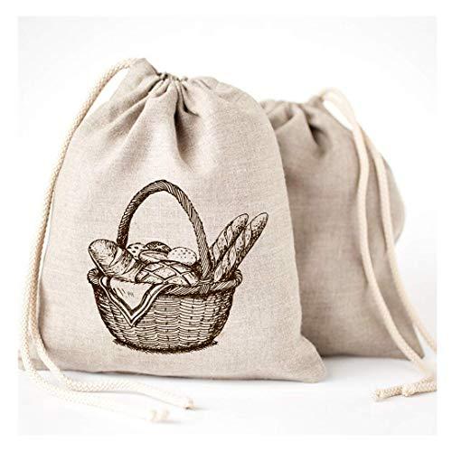 Linen Bread Bags - 3 Pack 11 x 15
