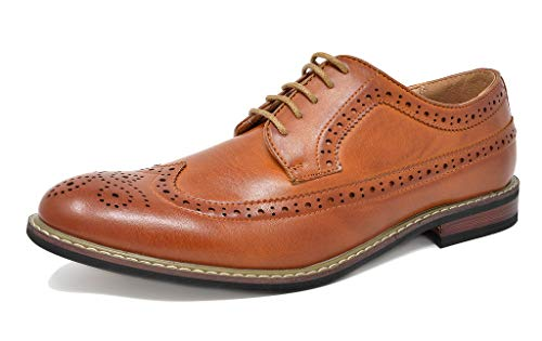 Bruno Marc Men's Prince-10 Brown Leather Lined Wing-Tip Dress Oxfords Shoes – 12 M US