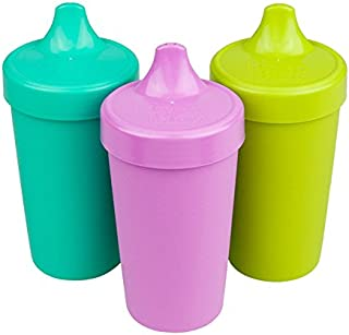 product image for RE-PLAY Made in USA 3pk - 10 oz. No Spill Sippy Cups | Aqua, Purple, Lime Green | Eco Friendly Heavyweight Recycled Milk Jugs | Virtually Indestructible| BPA Free | Mermaid