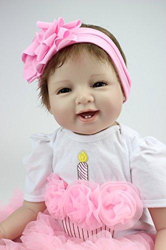 OCSDOLL Reborn Baby Dolls 22 inch Lifelike Soft Silicone Vinyl Real Newborn Handmade Toddler Doll Gift