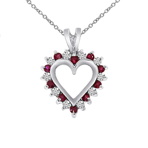0.25 Carat (ctw) 14k White Gold Round Red Ruby and Diamond Women's Alternating Heart Shape Pendant with 18