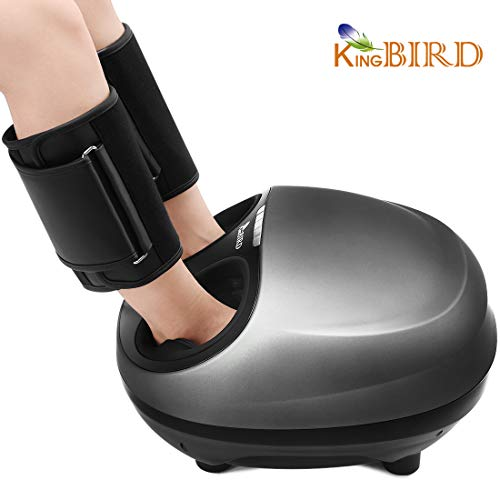 KING Bird Shiatsu Foot Massager Machine Electric with Heat deep Kneading Air Compression Adjustable Intensity, Washable Foot Holder, Extra Calf Wraps, Fit for US Men s Size 12 Women s Size 13 F12