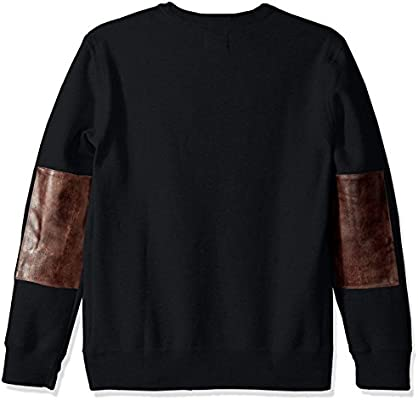 Billy Reid Mens Pullover Dover Crew Sweatshirt with Leather Elbow Patches Large Dark Midnight//Brown