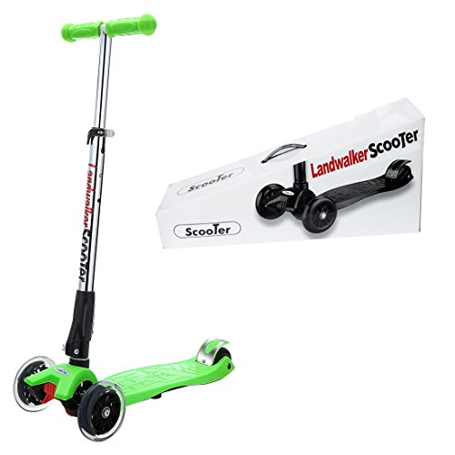 Landwalker Children Scooters Foldable Kick Scooter Adjustable Scooters Nonslip Glider 3-Wheel Scooter with PU LED Light up Wheels(Free Bell and Windmill)-Green
