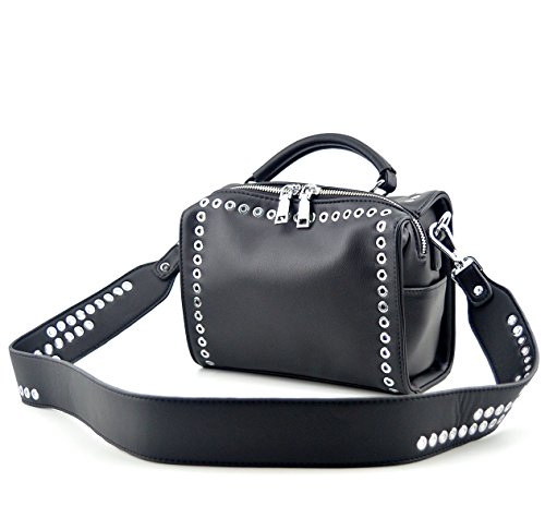 Mn&Sue Fashion Women's Rivet Studded Cross Body Small Boston Bag Shoulder Handbag Punk Satchel