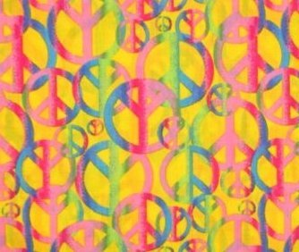 Retro Style Peace Signs on Yellow Fabric (Great for Quilting, Sewing, Craft (Peace Sign Fabric)