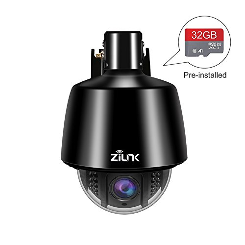 ZILINK 960P HD Outdoor Wireless IP Security Camera, PTZ Camera, Pan Tilt with 5X Optical Zoom, Motion Detection, Night Vision, Pre-Installed 32GB Memory Card, Black