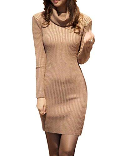 v28 Women Cowl Neck Knit Stretchable Elasticity Long Sleeve Slim Fit Sweater Dress XL Khaki for $<!--$29.99-->