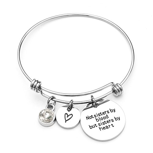 L.Beautiful Best Friends Bracelet-Not Sisters By Blood But Sisters By Heart Women Inspirational Birthstone Charm Bangle Bracelet Stainless Steel Adjustable Sister Jewelry (April)