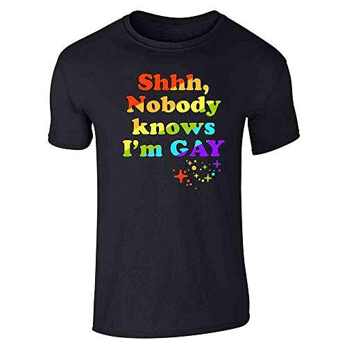 Pop Threads Shhh Nobody Knows I'm Gay LGBTQ Pride Funny Black XL Short Sleeve T-Shirt