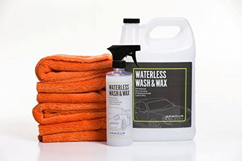 Armour Car Care Waterless Wash & Wax Complete 6 Piece Bundle | 4 Pro Ultra Plush Microfiber Towels | 1 (16 oz) spray and 1 (1 gal) refill of Waterless Wash & Wax