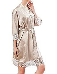 02185058924 GH Girls Floral Lace Robe Sexy Satin Bridalgown Pajamas Lounge Wear Kimono  Sleepwear