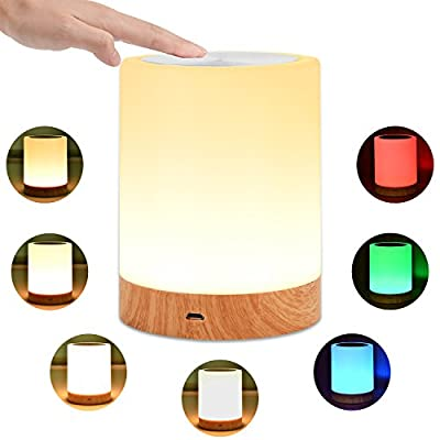 KMASHI Touch Lamp, Rechargeable Bedside Table Lamps for Bedrooms, Smart Portable Night Light with Dimmable Warm White Light& Color Changing RGB