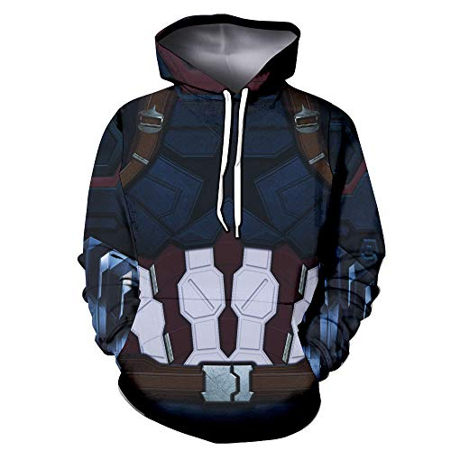 BRANDSALE Captain America Suit Up Hoodies for Halloween Costume | Zip Up Costume Hoodies for Daily (Captain America in Avengers Infinity war, Youth-X Large)]()