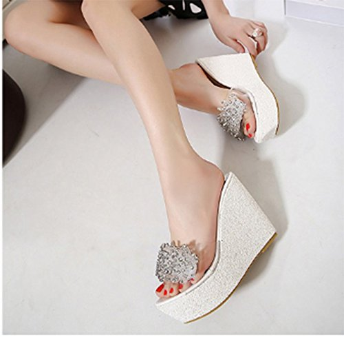 SCLOTHS Chanclas Mujer Verano Pendiente Inferior Grueso Transparente Diamante Artificial Blanco 11 5cm. 6 US/36 EU/3.5 UK 6 US/36 EU/3.5 UK|Blanco 11 5cm.