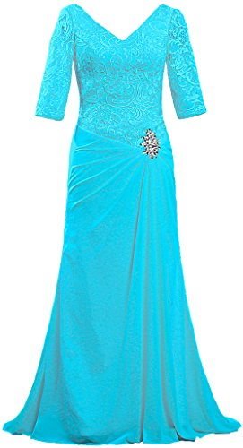 ANTS Women's V Neck Lace Sleeve Evening Mother of The Bride Dresses Size 22W US Turquoise