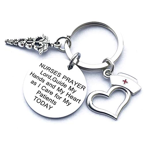 (Nurse Gifts for Women Nursing Graduation Gifts Nurse Keychain Prayer Inspirational Key Ring Valentines Birthday Christmas Gift for Nurses Practitioner Nurse Jewelry RN Charm Gift Medical Student)