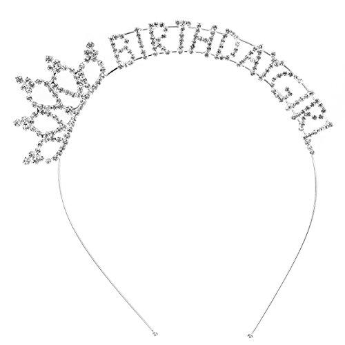 Frcolor Birthday Girl Headband, Happy Birthday Girl Princess Tiara Headband Hairband]()