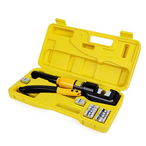 - 10 Tons Hydraulic Wire Battery Cable Lug Terminal Crimper Crimping Tool With 9 Pairs of Dies