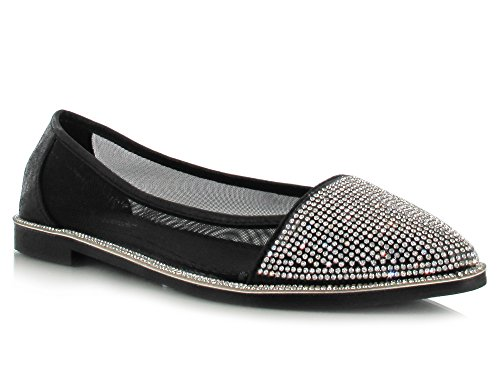 Silver Glitter Diamante Mesh Flat Shoes Super Comfy Flats for a Casual Summer Look Women's Daytime/Evening Holiday Footwear Black 2NJibVR
