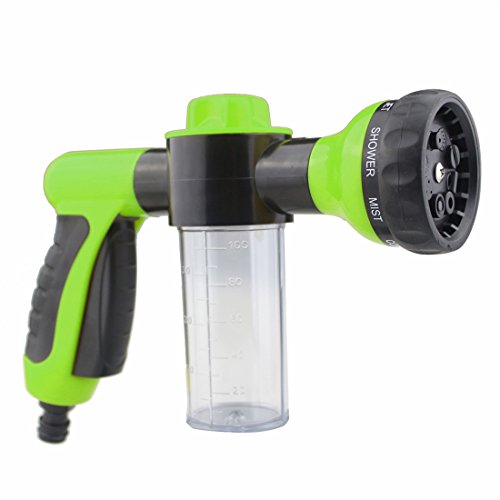GAMPRO 8 in 1 High Pressure Spray Nozzle Water Shape Sprayer 8 Spray Settings with Foam Clean Function, Best for Car Washing, Gardening, Pet Washing Etc(Green) (Best Place To Use Dwarf Cannon)