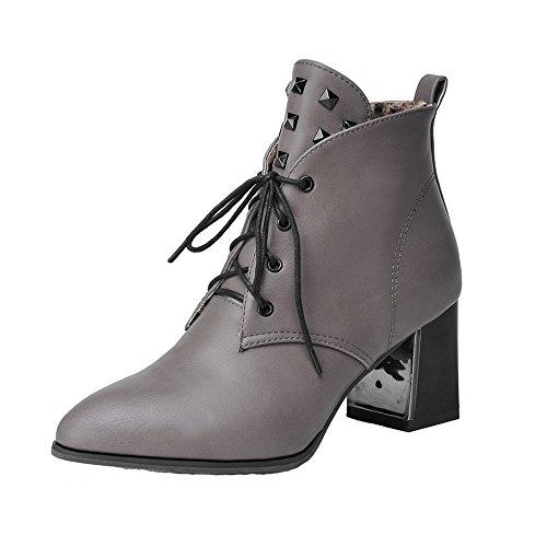 AgeeMi Shoes Mujer Cordones Puntera EN Punta Tacón Medio PU Tacón Grueso Boots Gris